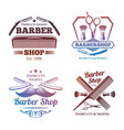 bright barber shop emblems - men haircute salon vector image vector image