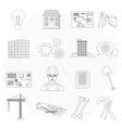 Builder worker construction thin line icons set vector image