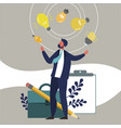 businessman juggles with ideas vector image