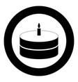 cake with candle icon black color in circle or vector image vector image