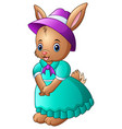 cartoon rabbit wearing blue dress with a purple ha vector image