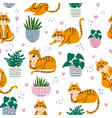cat seamless pattern red cats and plants in pots vector image
