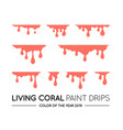 coral dripping paint set liquid drips paint flows vector image vector image