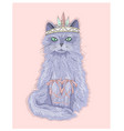Cute purple cat princess with crown vector image