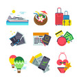 different icons of traveling summer holiday vector image vector image