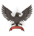 Eagle with wings and red ribbon vector image vector image