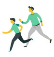 father and son running or jogging parent and child vector image vector image