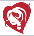 female head to the heart vector image vector image