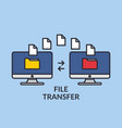file transfer two computers with folders on the vector image vector image
