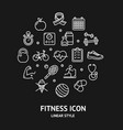 fitness sign round design template thin line icon vector image vector image