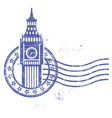 Grunge round stamp with Big Ben - landmark of vector image vector image