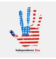 Handprint with the USA flag in grunge style vector image vector image