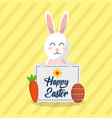 happy easter rabbit vector image vector image