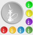 Hookah icon sign Symbol on eight flat buttons vector image