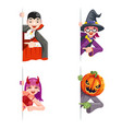 monsters cartoon looking out corner character vector image