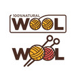 natural wool 100 percent quality threads and vector image