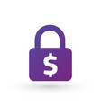 padlock with dollar sign icon isolated on white vector image vector image