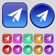 Paper airplane icon sign A set of twelve vintage vector image