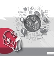 Paper and hand drawn case emblem with icons vector image vector image