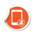 phone save icon orange sticker vector image vector image