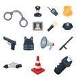 police department cartoon icons in set collection vector image vector image