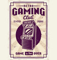 retro gaming club retro poster with arcade machine vector image