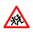 road sign warning children on white background vector image vector image