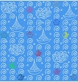 Seamless pattern background blue fish and ship vector image