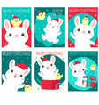 set christmas gift tag card sticker with cute vector image vector image