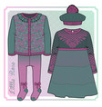 set knitted items for a toddler girl vector image vector image