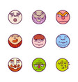 set of colorful avatar expression icons vector image