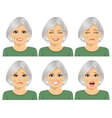 set of different expressions of senior woman vector image vector image