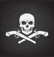 silhouette skull jolly roger with crossed pistols vector image vector image