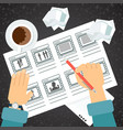 storyboarding process hand vector image vector image