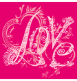 The inscription love and hearts vector image vector image