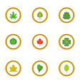 tree leaves icons set cartoon style vector image vector image
