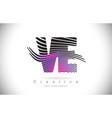 ve v e zebra texture letter logo design with vector image