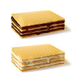 waffle cookies with cream filling realistic vector image vector image