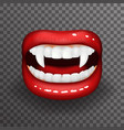 woman vampire tooth stylish lips slightly open vector image