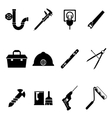 Building Equipment Icons and Construction Tools vector image