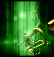 abstract green music background with trumpet vector image vector image