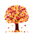 autumn tree on white background vector image