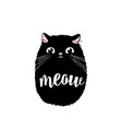 black cute cat print design meow lettering vector image vector image
