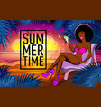 black girl with a cocktail on a beach summer vector image vector image