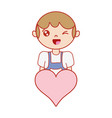 boy with hairstyle and heart icon vector image