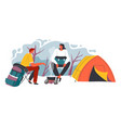 camping man and woman sitting fire and tent vector image vector image