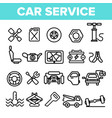 car service linear icons set thin pictogram vector image vector image