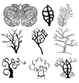 collection tree silhouettes vector image