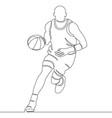 continuous line drawing of basketball player vector image vector image