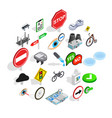 decussation icons set isometric style vector image